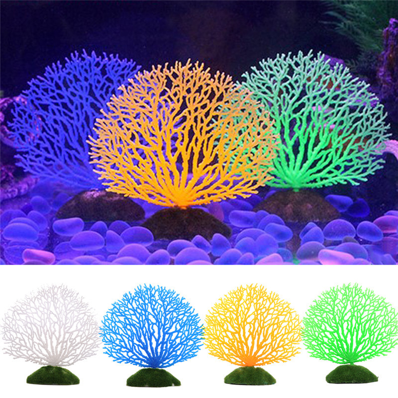 Hot fish tank ornaments 4 colors artificial fake coral for Fish tank coral decorations