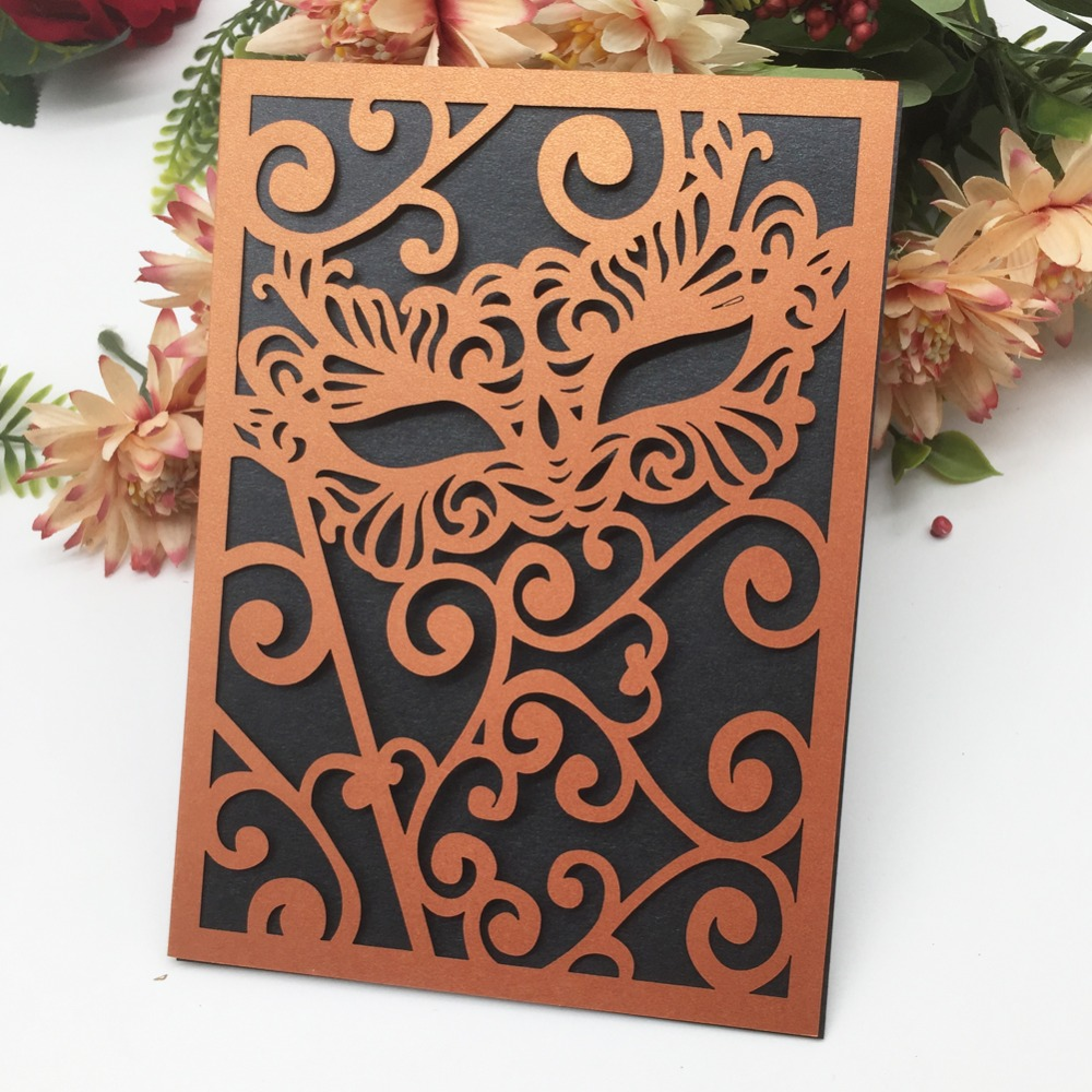 40Pcs Lot 24 Colors Laser Cut Carved Mask wedding Invitations Card Birthday Greeting Card Halloween Invite