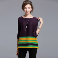 Pleated Tshirt Pleated Pleats Short Ladies Round Neck Striped T Shirts Large Size Women S 2017