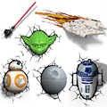 Nouveauté 3D applique Star Wars décor lumière Death Star Master Yoda BB 8 R2D2 dark vador's sabre laser sans fil à piles