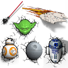 Novelty 3D Wall Lamp Star Wars Decor Light Death Star Master Yoda BB 8 R2D2 Darth Vaders Lightsaber Cordless Battery Operated
