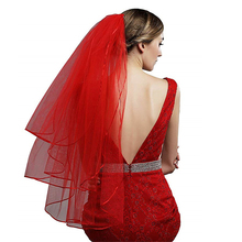 2019 قصير أحمر إصبع الزفاف حجاب الزفاف 3 طبقات مع مشط تول الحجاب للعرائس فوال دي ماريج كورتي روج