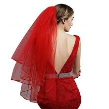 2019 สั้นสีแดง Fingertip งานแต่งงานเจ้าสาว 3 ชั้นพร้อมหวี Tulle Veils สำหรับเจ้าสาว Voile de Mariage Courte Rouge