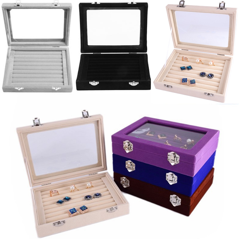 Luxury Velvet Size Ring Jewelry Box Glasses With Lid Ring Storage Box Stand Earring Box Earring Jewelry Accessories Display Rack