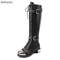 KoHuiJoo Genuine Leather Motorcycle Boots Knee High Boots Autumn Winter Metal Rivets Studded Boots Womens Warm