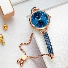 Kimio Reloj de pulsera sencillo para mujer, de cuarzo, con diamantes de imitación, resistente al agua, 2019