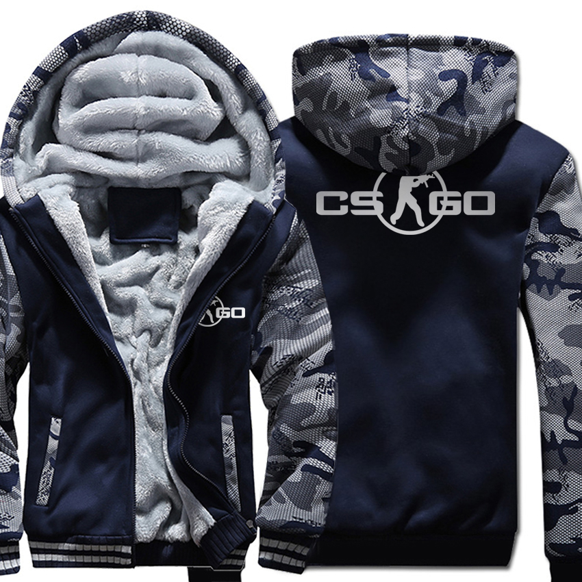 The Game CS GO Costume Men's Sportswear 2018 Winter Fleece Brand Thick Sweatshirt Zipped Hoodies Jacket Harajuku Tracksuit Hoody