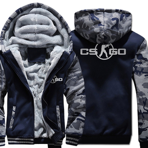 Image 1 - The Game CS GO Costume Mens Sportswear 2018 Winter Fleece Brand Thick Sweatshirt Zipped Hoodies Jacket Harajuku Tracksuit Hoody
