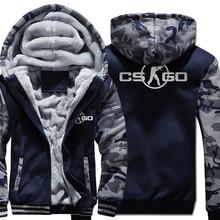 The Game CS GO Costume ropa deportiva para hombre, sudadera gruesa de marca de forro polar para invierno, Sudadera con capucha y cremallera, chaqueta Harajuku, chándal, Sudadera con capucha, 2018