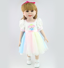 18″ Full Vinyl American Girl Doll Princess Girl Doll Gift with Long Blonde Curly Hair Girl Toys