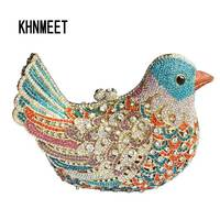 2015 Luxury Mujer Evening Bags Sparkly Crystal Women Clutch Bags Colorful Bird Ladies Dinner Bags Tote