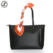 Genuine Leather Women Casual Tote Bags Female Handbags Black Shoulder Bags with Scarf sac a main femme sac fourre-tout borsa