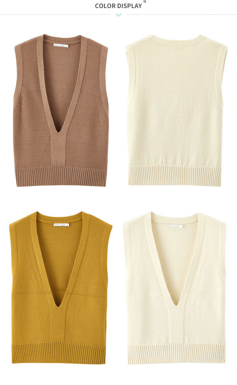 INMAN 19 Autumn New Arrival Solid Deep V-neck Sleeveless All Matched Women Sweater Short Snit Vest 23