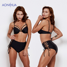 AONIHUA 2019 Sexy Bikini Swimsuit Women Swimwear Bandage Padded Bras Triangle Body suits Beach Batching Suit Swim Wear