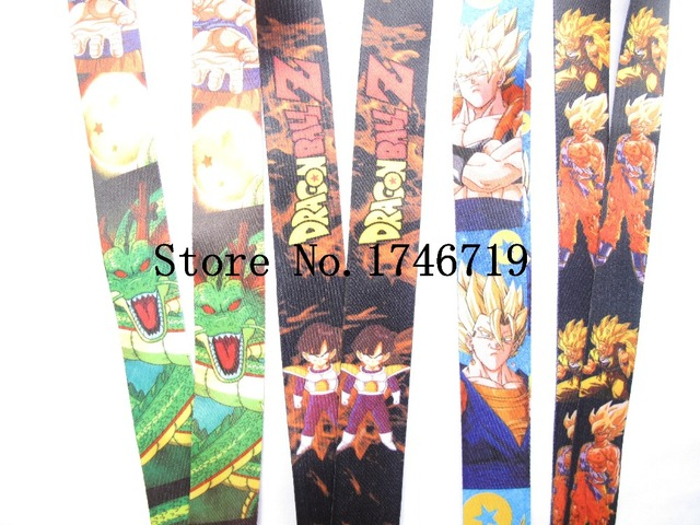 Free Shipping 50 Pcs Japanese Anime Dragon Ball Lanyards Keys Camera ID Card Lanyard Mobile Phone