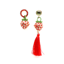 Fashion High Quality 1Pair Rhinestone Crytal Red Strawberry Exquisite Cute  Earrings Asymmetrical Tassel Drop