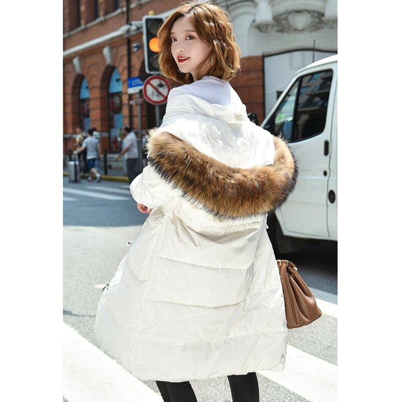 New Fashion 2018 Winter Warm Women's White Duck   Down   Jacket Oversize Long   Down     Coat   Large Real Raccoon Fur Hooded Parka Outwear