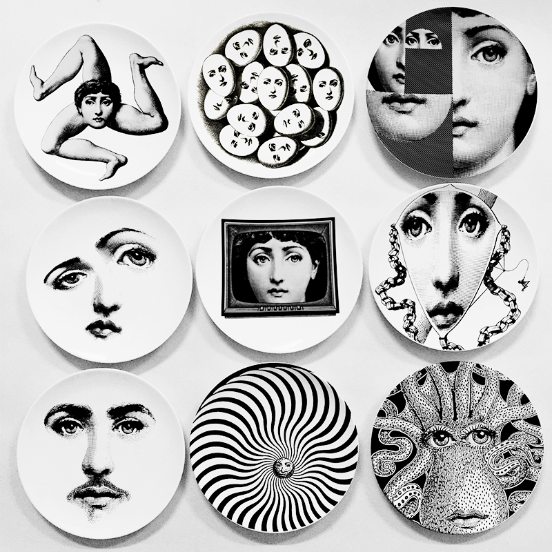 newest design italy piero fornasetti plates wall decorative plate vintage art 8 inch wall hanging - Decorative Wall Plates