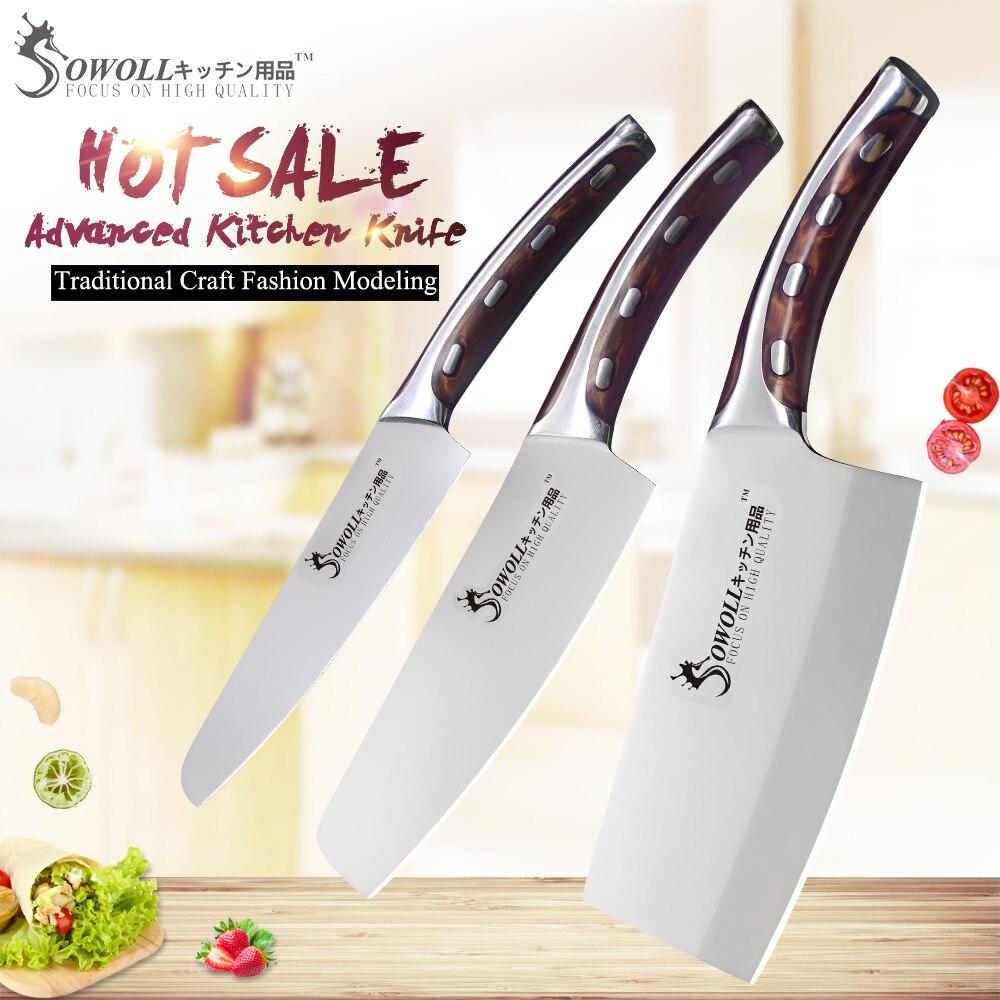 SOWOLL 4cr14mov кухонный нож из нержавеющей стали набор разделочных ножей шеф-повара нож супер острый нож Удобная ручка набор ножей