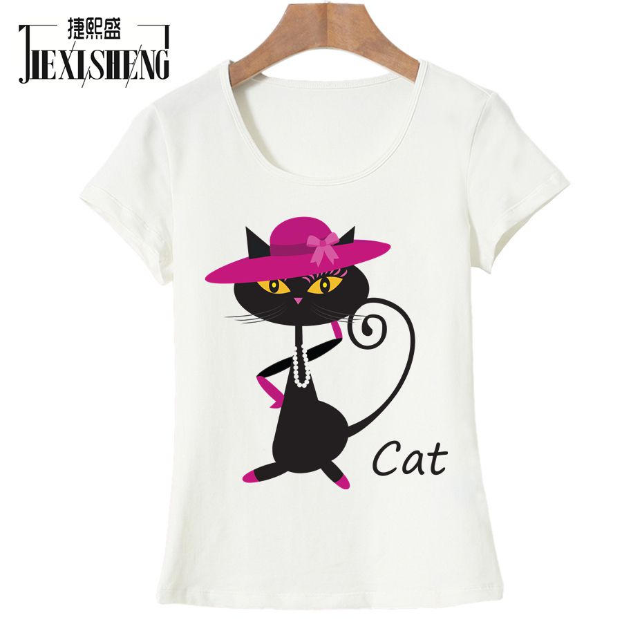 JIXISHENG Fashion Women T Shirt Cartoon Kawaii Cat Printing Tshirts Brand Woman Clothing Tops Tees