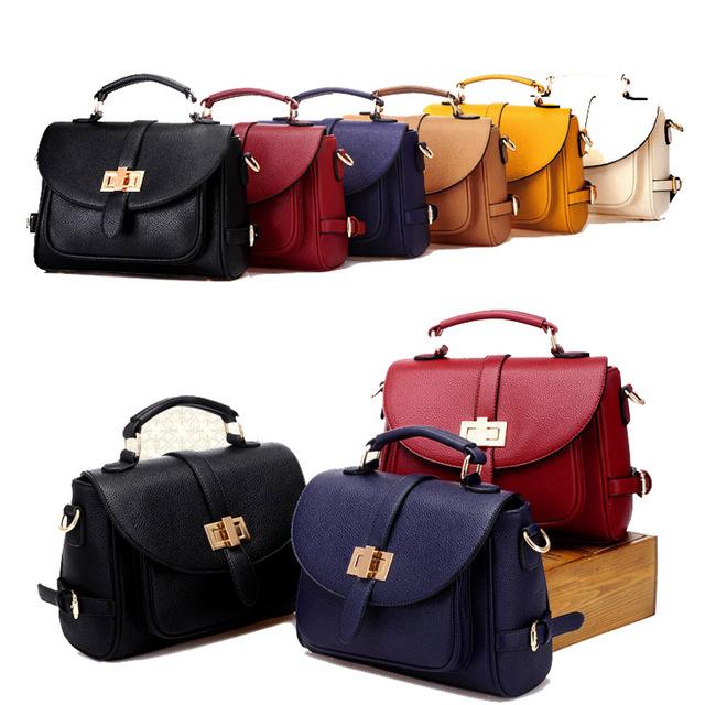 2017 New Arrival Retro Women Shoulder Bag High Quality PU Leather Red Handbag Colorful Female College Fashion Totes Bag