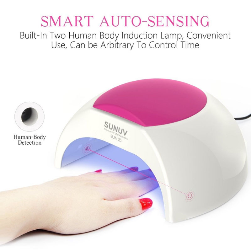 SUN2 48W Nail Dryer Professional White Light UV Lamp For Nail Gels Curing With Unique Low Heat Model Infrared Sensor Timer