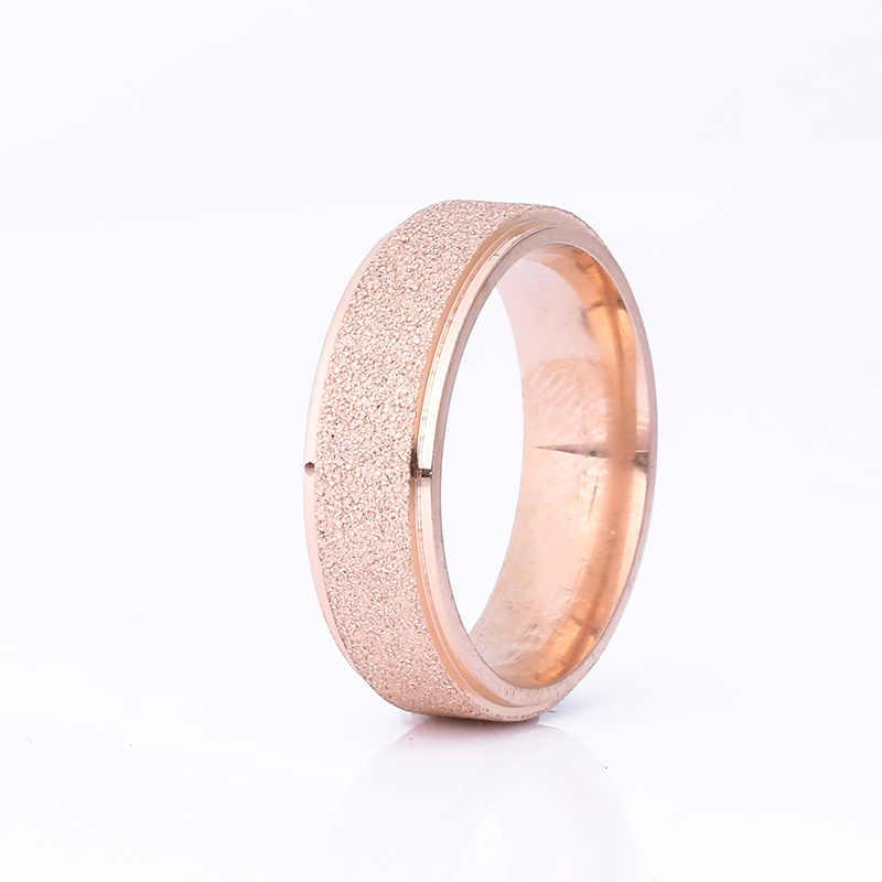 2018 ใหม่แฟชั่น 6mm Dumb Light ไทเทเนียมแหวนเหล็กสำหรับผู้ชายผู้หญิงคุณภาพสูงง่าย Rose Gold แหวนคู่ขายส่ง
