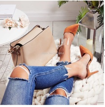 Orange Suede Woman sandals pointed toe high heels PVC slip-on Slides sexy pumps stiletto female party show shoes open toe boot недорого