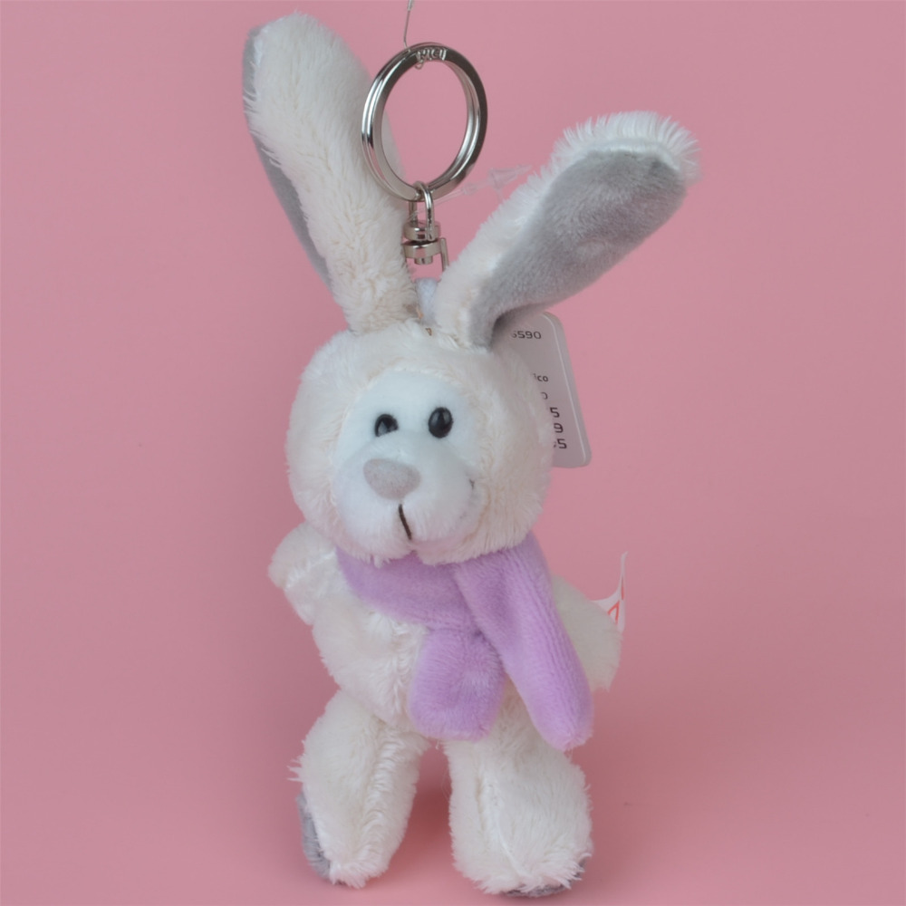 3 Pcs Purple Scarf Rabbit Small Plush Pendant Toy, Kids Doll  Keychain / Keyholder Gift Free Shipping