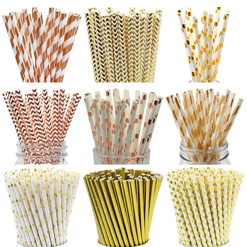 25pcs/lot Rose Gold Paper Straws Striped Dot Drinking Straws Disposable Tableware Party Supplies Happy Birthday Decoration Kids