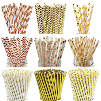 25pcs/lot Rose Gold Paper Straws Striped Dot Drinking Straws Disposable Tableware Party Supplies Happy Birthday Decoration Kids 25pcs lot foil mix silver drinking paper straws mickey mouse cake flags for birthday wedding decorative party event supplies