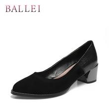 BALLEI Luxury Woman Fashion Pumps Vintage Genuine Leather Classic Round Toe Slip-on Shoes Soft Heels Elegant D33