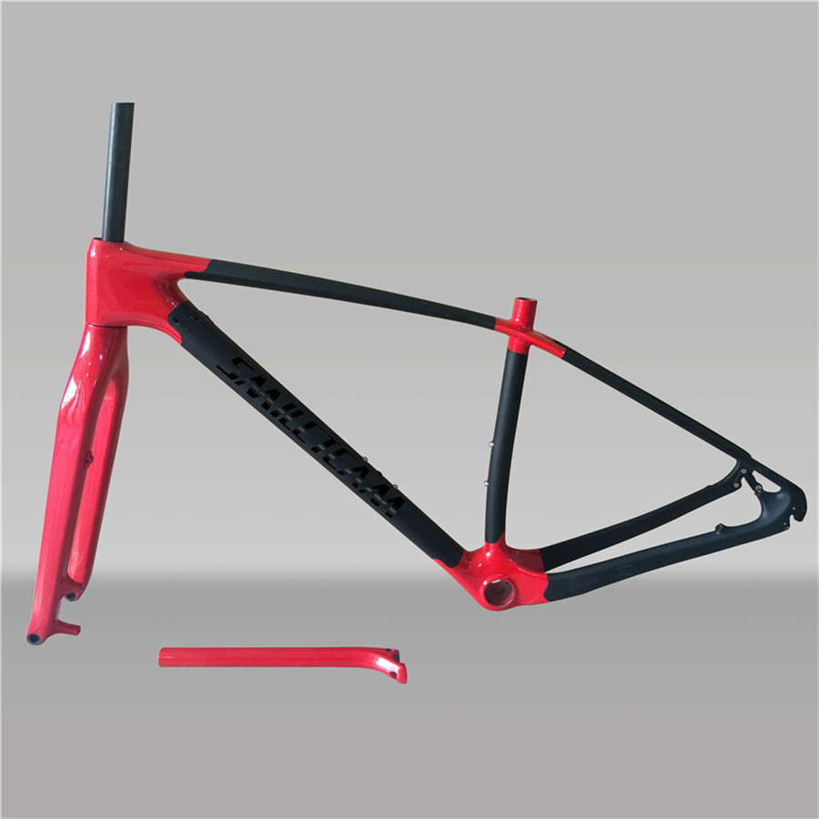 2017 Newly UD Matte 29ER Full Carbon MTB Bike Frame 142*12mm Mountain Bicycle Frameset With 100X15mm Axle Fork And Seatpost 2017 new frame carbon 29er bicycle bicicleta mountain bike frame 15 17 19 glossy matte ud quick release or axle alternatively