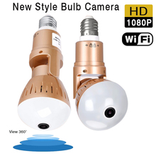 1080P HD 2MP Panoramic Bulb Infrared and White Light Wireless IP Camera Wi-FI FishEye Mini Lamp Wifi P2P Cam CCTV Home Security babykam 360 degree panoramic camera hd wireless wifi ip camera 1080p 1 44mm lens fisheye 2mp home video security cctv cam