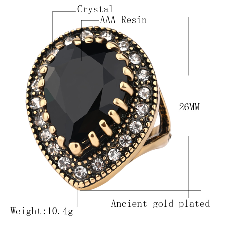 Details about 2018 Boho Big Black Stone Ring Antique Gold Mosaic Crystal  Turkish Jewelry Hot !