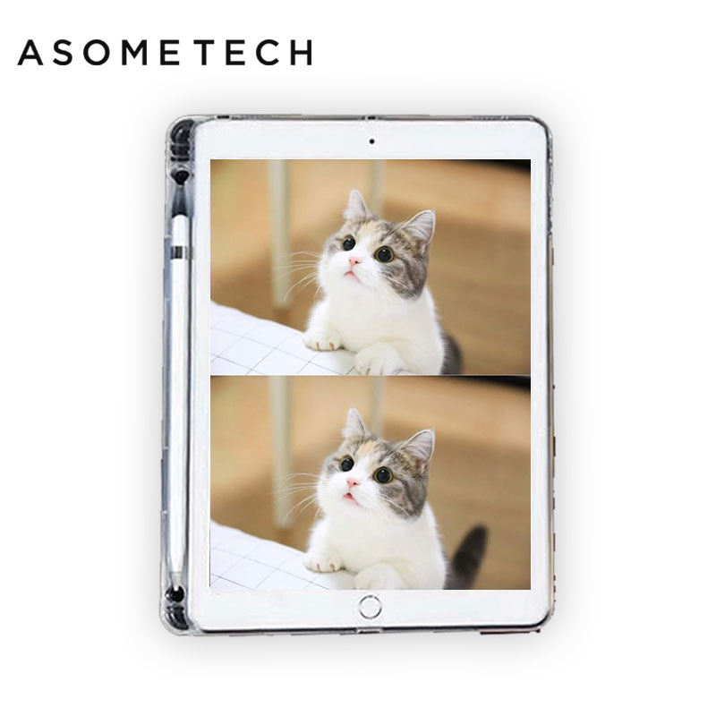 Transparent Soft TPU Tablet Case For ipad 2018/2017 Air 1/2 Cover Skin For ipad Pro 9.7 Pro 10.5 W/ Pencil Holder/Slot Back Case silicon case for ipad 2 3 4 5 6 air 1 mini 1 2 3 4 clear transparent case soft tpu back cover tablet case for ipad 9 7 2017 2018
