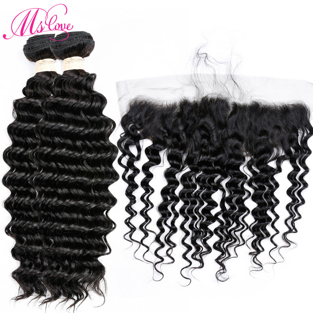 Mslove Peruvian Deep Wave With Lace Frontal Closure 100% Human Hair Weave Bundles non remy Hair Weaving Extensions