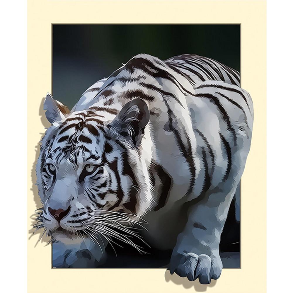 """Novo """"White tiger"""" home decor 5D broca completo pintura diamante diy bordado padrão de resina de mosaico 3d do ponto da cruz kits de adesivos de parede"""