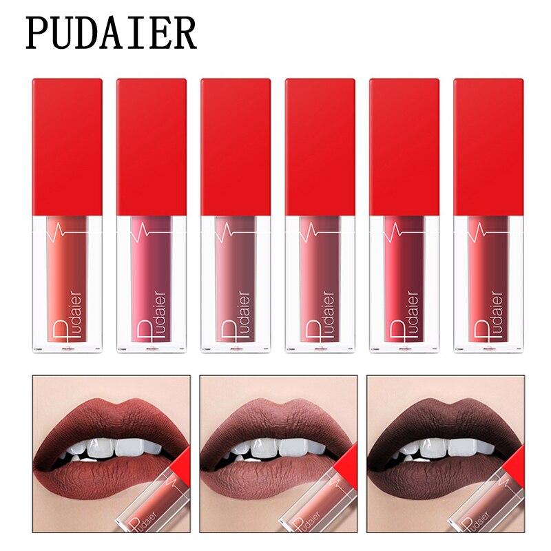Pudaier 18 Colors Lipgloss Tint Glossy Lipstick Waterproof Long-lasting Pigment Lip Kit Matte Liquid Lipstick Nude Lip Glosses