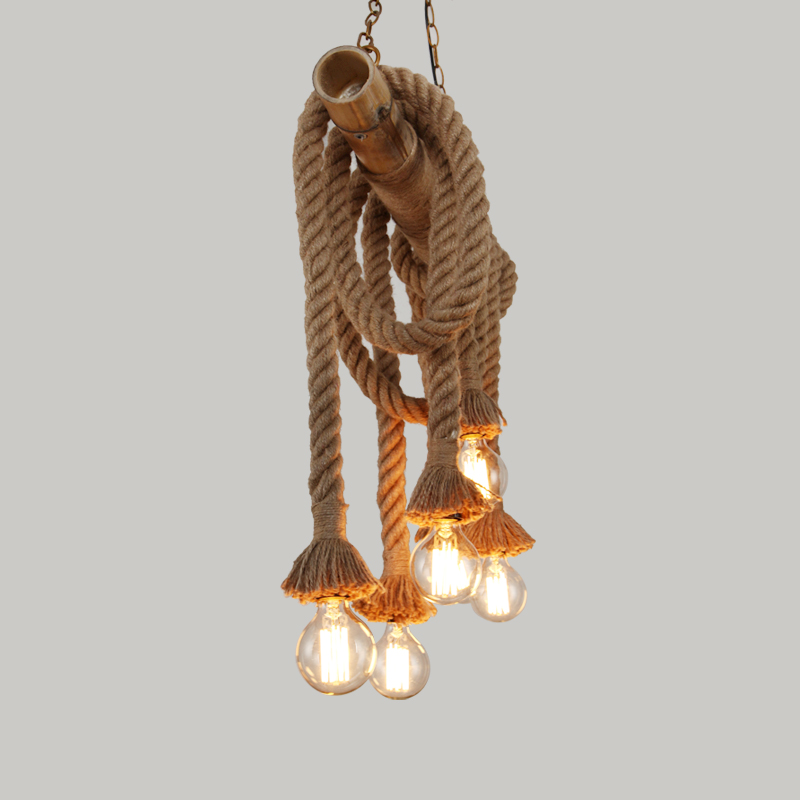 pendant rope jute lamp banded with light body rust color