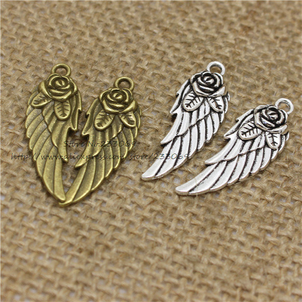 PULCHRITUDE 40pcs 11*30mm  Rose Angel Wings Charms Wholesale two color  Metal Zinc Fashion Trendy Pendants for Jewelry T0346