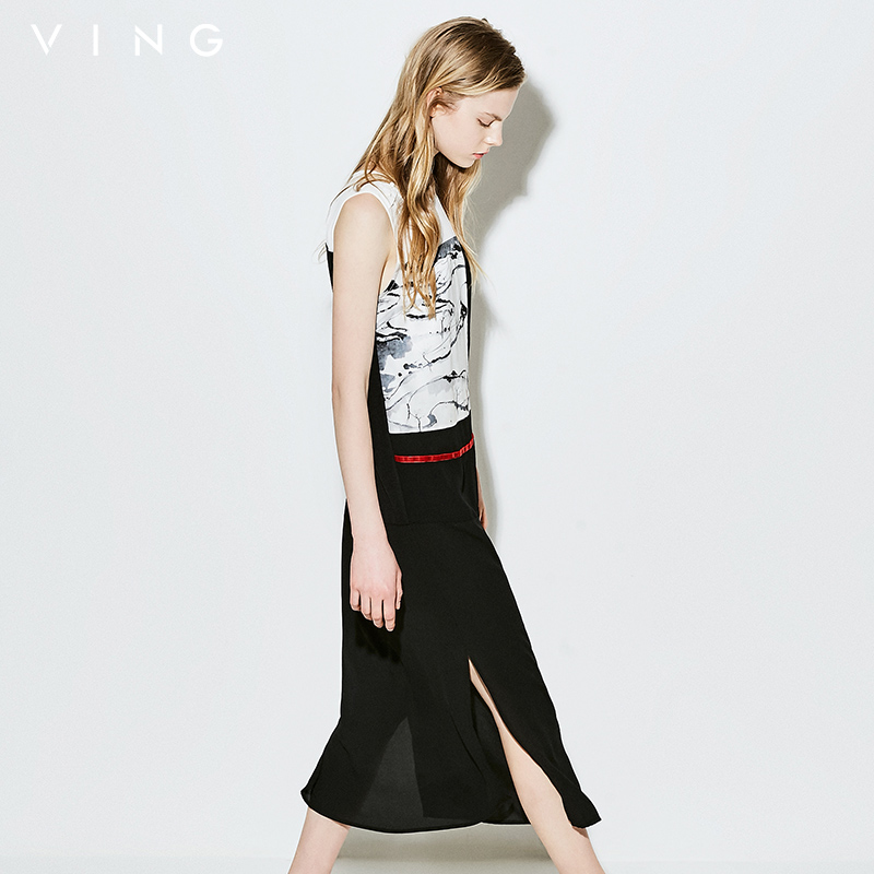 VING Chinese Style Ink Printed Women Chiffon Dresses Summer Sleeveless Split Dress Vintage Black White Hit Color Tank Dresses