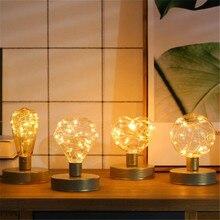 Винтаж светодиодный Ночной светильник Светодиодная лампа накаливания Эдисона Ретро светодиодный светильник s струнные лампы E27 DC5V AA Батарея теплый белый Настольная Рождество искусство светильник Инж