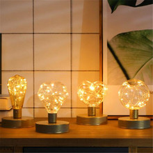 Vintage LED Night Light Filament Lamp Edison Retro Lights String Bulb E27 DC5V AA Battery Warm White Table Xmas Art Lighting