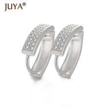 Women Luxury AAA Zircon Rhinestone Hoop Earrings Gold Silver Rose Gold Black Ear Hoops Jewelry boucles d oreilles femmes 2018(China)