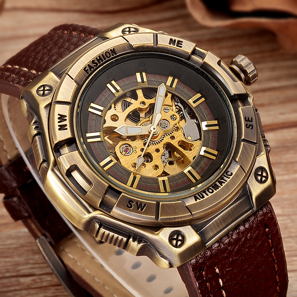 SHENHUA Retro Bronze Skeleton Mechanical Watch Men Automatic Watches Sport Luxury Top Brand Leather Watch Relogio MasculinoSHENHUA Retro Bronze Skeleton Mechanical Watch Men Automatic Watches Sport Luxury Top Brand Leather Watch Relogio Masculino
