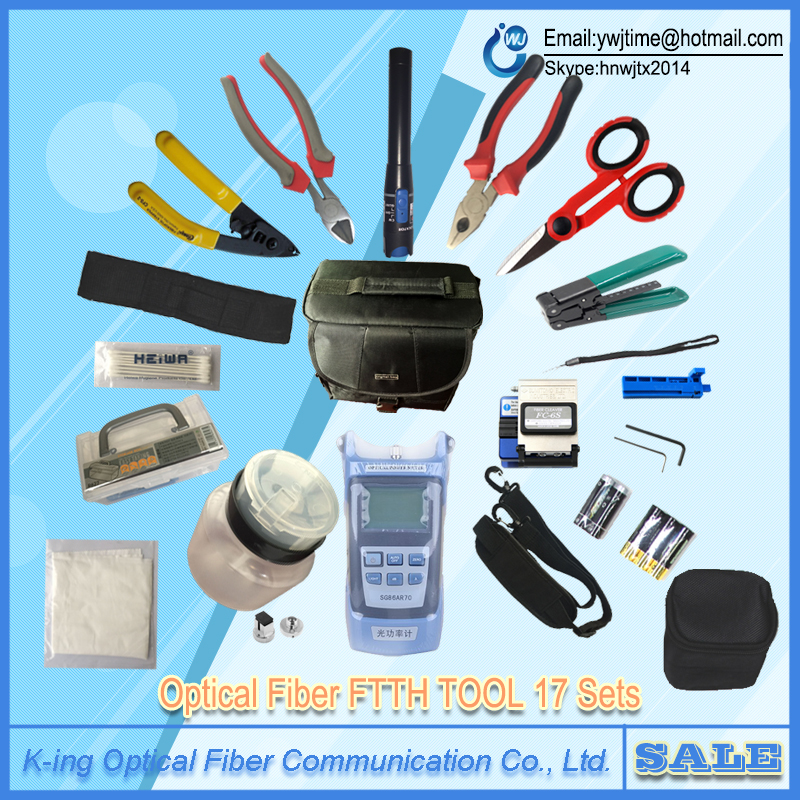 17 PCS Fiber Optic FTTH Tool Kit with FC-6S Fiber Cleaver and Optical Power Meter 5km Visual Fault Locator Wire stripper17 PCS Fiber Optic FTTH Tool Kit with FC-6S Fiber Cleaver and Optical Power Meter 5km Visual Fault Locator Wire stripper