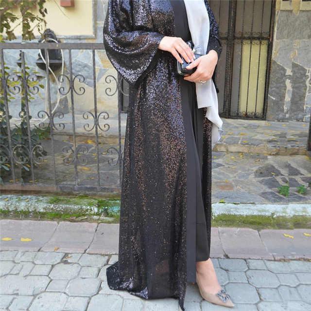 Abaya Дубай женский мусульманский Модный черный кардиган с поясом исламский, мусульманский скромный темный блеск платье мусульманский кафтан арабский jilbaw
