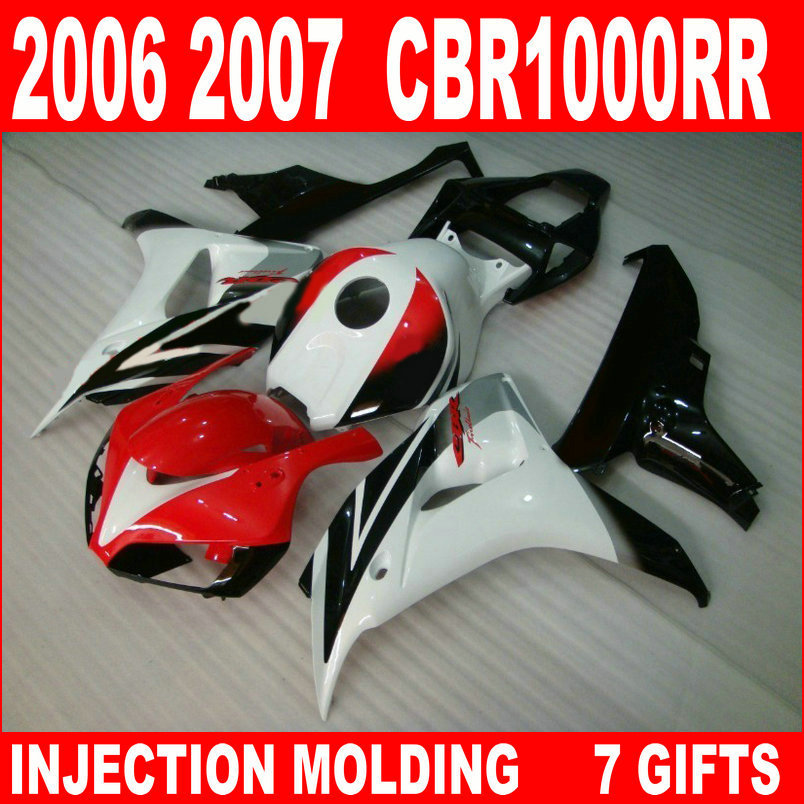 High quality parts for 2006 2007 HONDA CBR1000RR fairings custom red white black 06 07 cbr