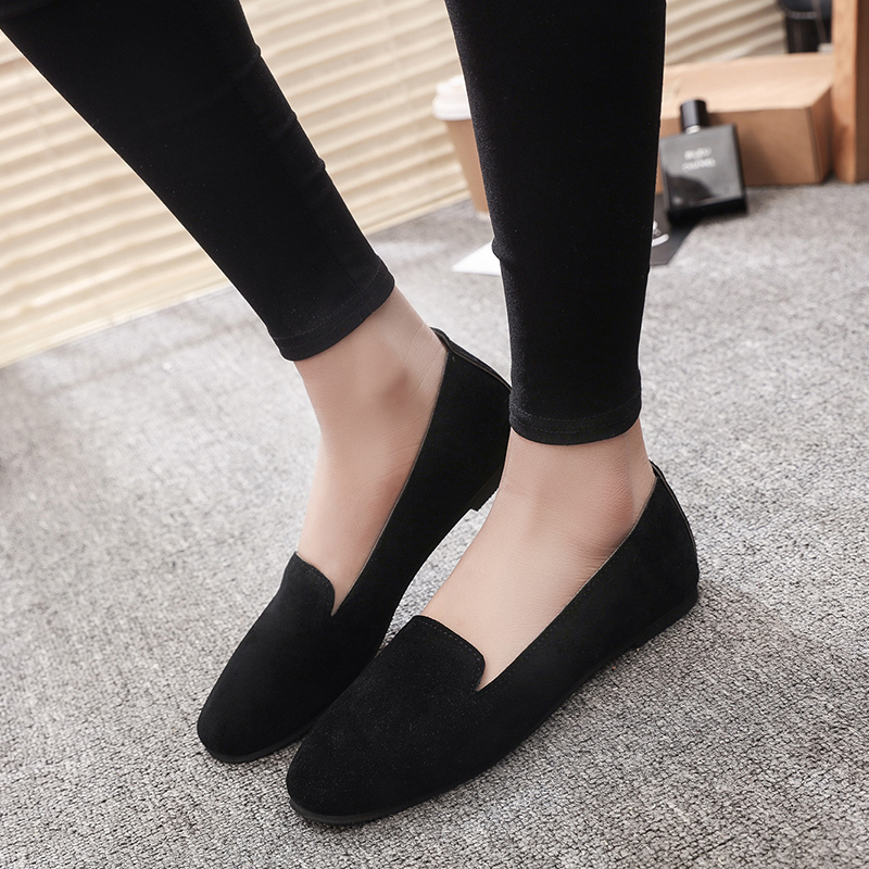 2019 New   Suede     Leather   Flat Shoes Woman Breathable Feminino Nurse Flats Shoes Spring Summer Shallow Mouth Women Shoes Size 35-40